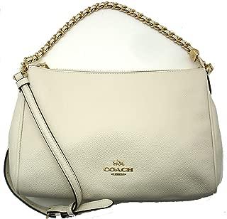 Coach F22212 Carrie Crossbody Bag Pebble Leather Chalk