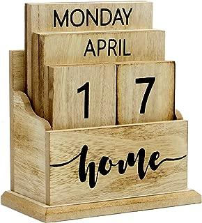 Wooden Vintage Perpetual Calendar | Stylish Eternal Desk Calendar | Lift 'n' Flip Block Design | Perfect for Home or Office | M&W (Wood)