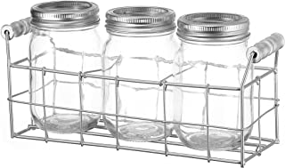 V-More Rustic Mason Jar Flower Vase with Metal Basket 5.5-inch Tall for Home Decor Wedding Party and Celebration (Set of 1)