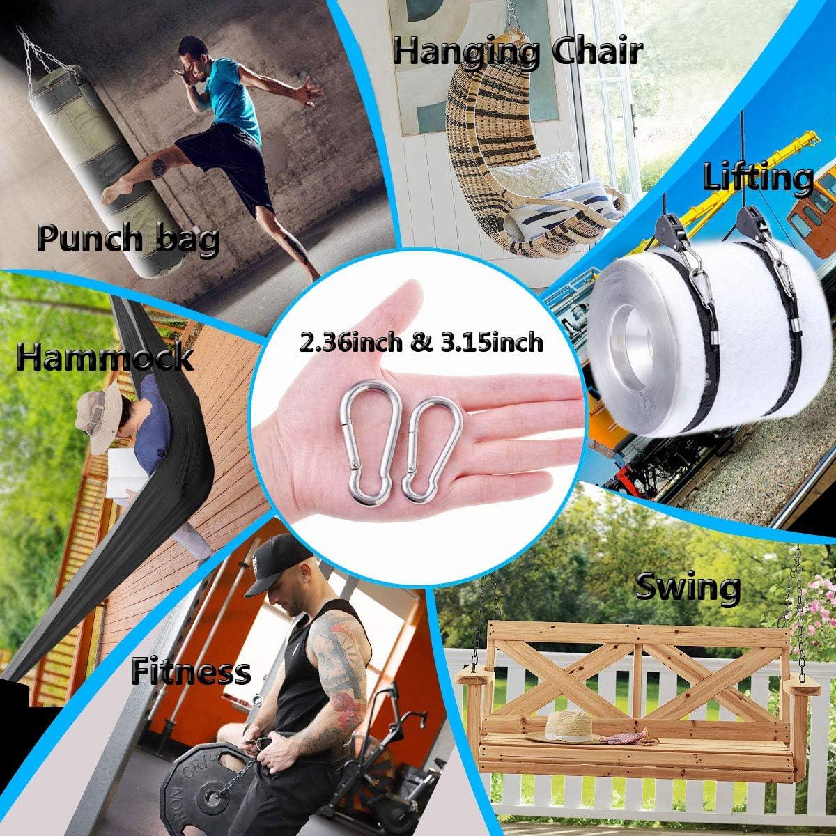 Ekunbuy 304 Stainless Steel Spring Snap Hooks Spring Clips Keychain Link Buckle Rope Connector for Camping Hiking Swing Gym Hammock Carabiner Clips