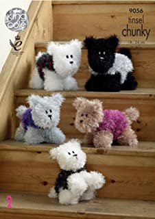 King Cole 9056 Knitting Pattern Westies Dog in Tinsel Chunky ... by King Cole