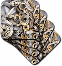 3dRose CST_45007_2 Steampunk Rusty Parts Soft Coasters, Set of 8