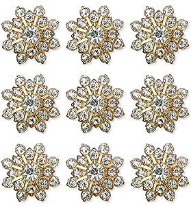 30PCS Rhinestone Button Accessories Jewelry Decoration Embellishment Alloy Jewelry Decoration DIY Handmade Accessories for Bouquet Decoration Home Decor (Gold Rhinestone)