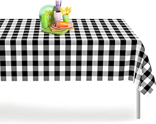 Black Checkered Gingham 12 Pack Premium Disposable Plastic Tablecloth 54 Inch. x 108 Inch. Rectangle Checkered Racing  Flag Table Cover By Grandipity