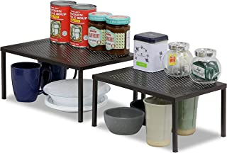 SimpleHouseware Expandable Stackable Kitchen Cabinet and Counter Shelf Organizer, Bronze