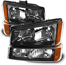For 2003-2006 Chevy Silverado Avalanche Black Bezel Headlights w/Bumper Lamp Driver+Passenger Head Lights Pair