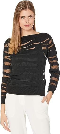 Sheer Zebra Patterned Sweater