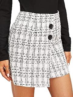 Women's Plaid Mid Waist Asymmetrical Hem Above Knee Elegant Short Skirt
