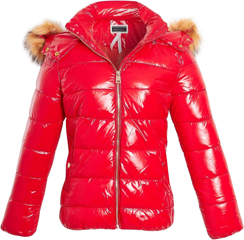 shelikes Womens Puffer Jacket Wet Look Faux Fur Coat Black Red Size 8 10 12 14 16