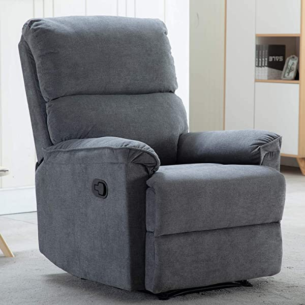CANMOV Recliner Chair Soft Living Room Reclining Chair Navy Blue