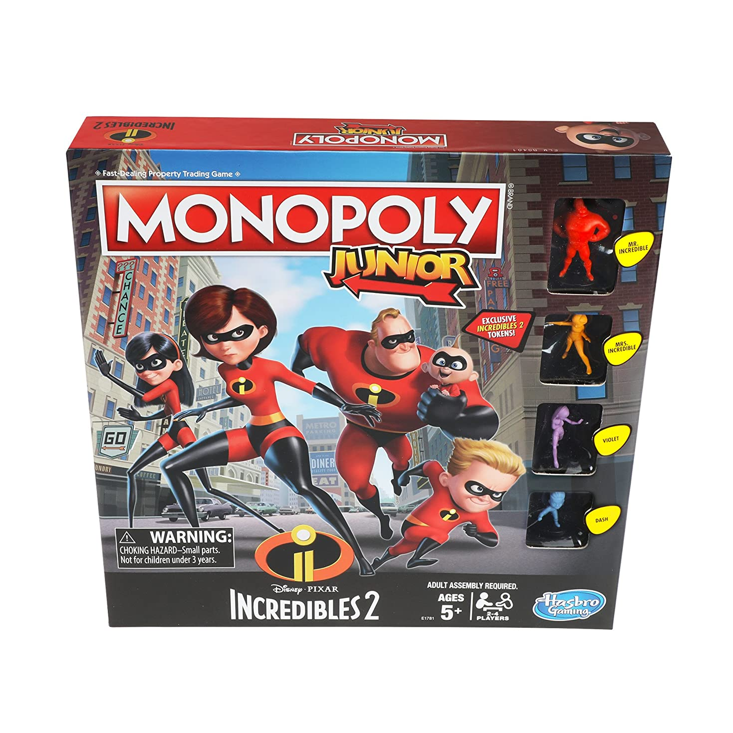 アルミニウム普通の聞くMonopoly Junior Game: Disney/Pixar Incredibles 2 Edition