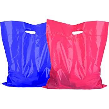SES.CO Thick White Plastic Shopping Bags,Sturdy Retail Bags for Merchandise with Die Cut Handle,Glossy Customer Bags for Boutique//Store//Grocery//Makeup//Clothes//Gift 12x15 Inch,100 Count