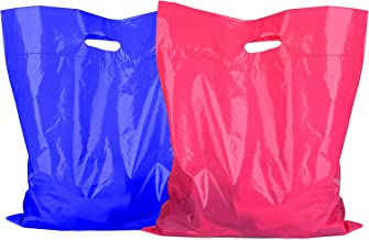 16x18 Large Merchandise Plastic Bags 100 pack - 50 Pink / 50 Blue 2 mil - Thick Glossy Boutique Gift Shopping Bags With Strong Handles For Retail Store Clothes Shoes Book Lularoe Shop