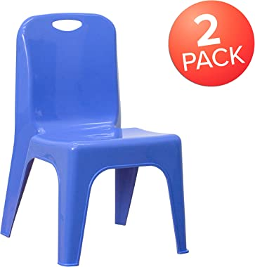 """Flash Furniture 2 Pack Blue Plastic Stackable School Chair with Carrying Handle and 11"""" Seat Height"""