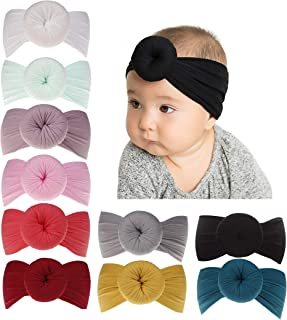 inSowni Newest Super Stretchy Nylon Bow Ball Turban Headbands Hairbands Headwraps for Baby Girls Toddlers Infants Newborns