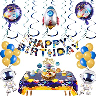Space Theme Party Decorations -45 pcs Planet Theme Birthday Decorations-Happy Birthday Banner,Astronaut Rocket Balloons,So...