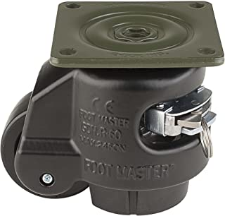 """FOOTMASTER GDR-60F-BLK Nylon Wheel and NBR Pad Ratcheting Leveling Caster, 550 lbs, Top Plate 2 7/8"""" x 2 7/8"""", Bolt Holes 2 9/32"""" x 2 9/32"""", Black"""