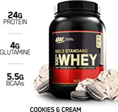 Optimum Nutrition Gold Standard 100% Whey Protein Powder, Cookies & Cream, 1.84 Lb (Package May Vary)