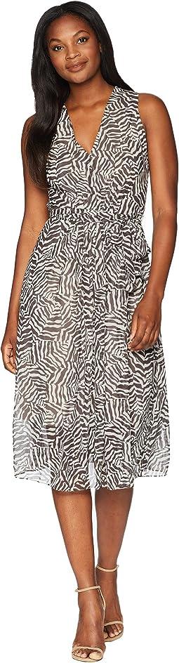 Animal Print V-Neck Midi Dress