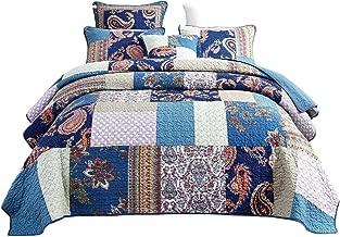 Tache Paisley Night Flower Floral Blue Colorful Bohemian Cotton Patchwork Reversible Quilt Bedspread Set Queen