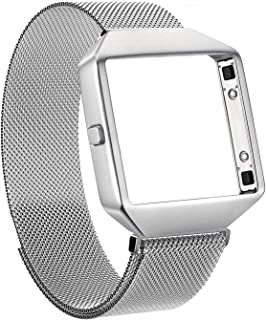 Akale Compatible with Fitbit Blaze Bands, Small and Large Stainless Steel Band with Metal Frame Replacement Strap Wristband for Fit bit Blaze Smart Fitness Watch, Women Men