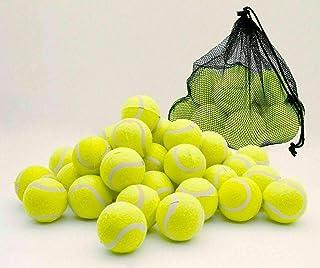 Sashtech 24 Pcs Yellow Tennis Balls – Practice Game Soft Rubber Sport Balls for Children Pet Dogs and Beginners