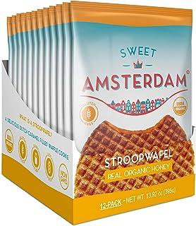 Sweet Amsterdam Gluten Free & Dairy Free Stroopwafel Snacks, Real Organic Honey, 12 Count