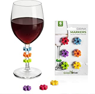 GreenOlive Wine Glass Charms, Colorful Wine Glass Markers, Drink Tags Set For Your Favorite Beverages, Great Party Decorations Supplies and Wine Accessories, or Perfect Housewarming (Set of 6)