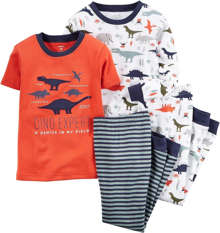 Carter's Baby Boys' 4 Piece Slogan Tee PJ Set (Baby) - Dinosaurs - 6M