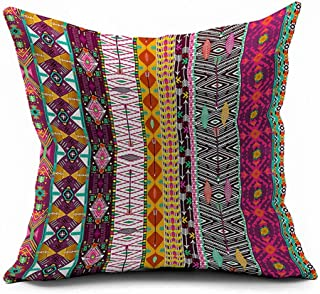 Bohemian Colorful Stripes Geometric Flower Ethnic Boho Style Vivid Colors Cotton Linen Throw Pillow Case Cushion Cover Hom...