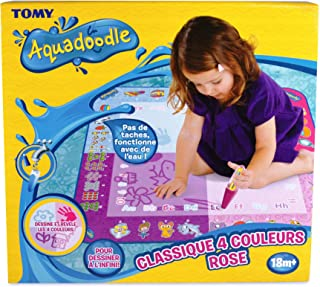 TOMY - Tapis Aquadoodle Classique 4 Couleurs Rose, Tapis de Dessin à Eau, Coloriage Géant, Tapis d'Éveil, Cadeau de Noël A...