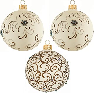 Miss Christmas 2019 Collection Set of 3 Ivory White Balls with Elegant Swirl Pattern and Pearls 3-Inch Handmade Blown Glass Christmas Tree Ornaments