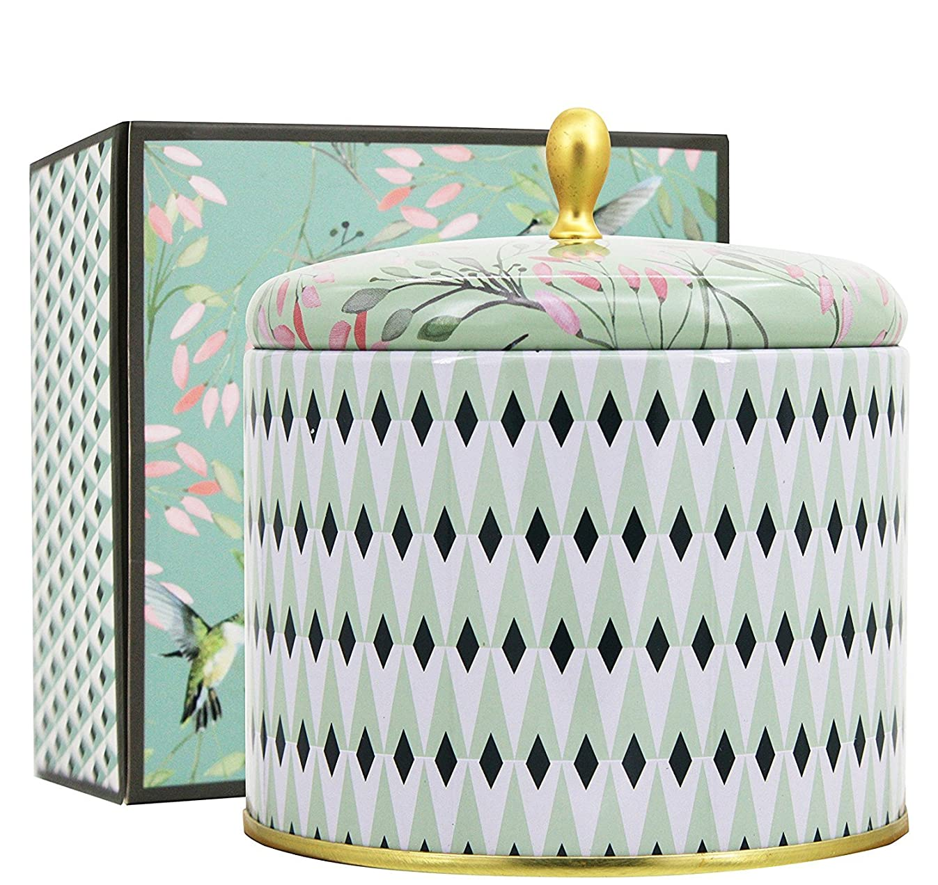 LA JOLIE MUSE Scented Candles 14Oz Aromatherapy Natural Soy Wax Large Tin Candle 2 Wicks, White Tea, Gift Candle