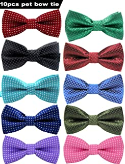 VICTHY Pet Bow Tie, Colorful Polka Dots Adorable Collar Butterfly Knot Puppy Adjustable Bow Ties for Dogs/Cats/Other Pets