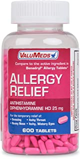 ValuMeds Allergy Medicine (600 Tablets) Antihistamine, Diphenhydramine HCl 25 mg |..