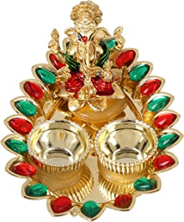 W Weblytech Ganesha Thali with Red and Green Stone Diwali Pooja Thali Tilak Decorative Platter Set, Laxmi/Ganesh Pooja