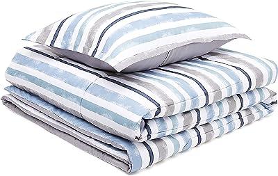 AmazonBasics Comforter Set, Twin / Twin XL, Blue Harbor Stripes, Microfiber, Ultra-Soft