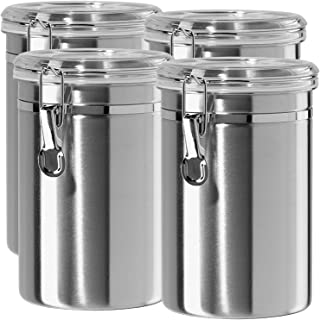 Airtight Canisters Sets for the Kitchen Stainless Steel - Beautiful for Kitchen Counter, Medium 64 fl oz, Food Storage Container, Tea Coffee Sugar Flour Canisters by SilverOnyx - Medium 64oz - 4 Piece