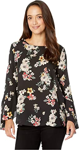 Petite Flared Sleeve Floral Story Blouse