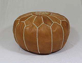 craftsartisanat Moroccan Poufs Handmade Leather Luxury Ottomans Tan Unstuffed