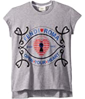 Fendi Kids - Short Sleeve Heart Lock Graphic T-Shirt (Little Kids)