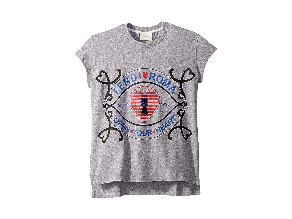 Fendi Kids - Fendi Kids Short Sleeve Heart Lock Graphic T-Shirt