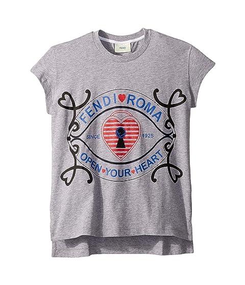 Fendi Kids Short Sleeve Heart Lock Graphic T-Shirt (Little Kids)