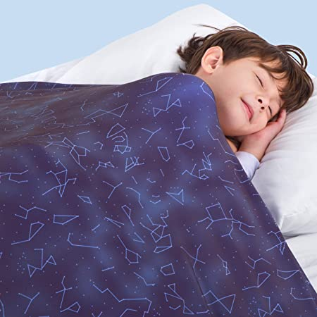 Florensi Compression Sheet (Twin/Twin XL), Stretchy Sensory Blanket, Sensory Compression Blanket, Compression Bed Sheet, Compression Blankets for Kids, Autism Sensory Blanket Blue Constellations