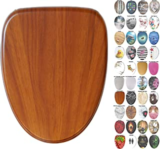 Sanilo Elongated Toilet Seat, Wide Choice of Slow Close Toilet Seats, Molded Wood, Strong Hinges (Mahogany)