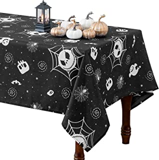 Halloween Tablecloth - Ghost Pattern Rectangle Table Cloth Spillproof Washable Polyester Fabric Table Cover for Dining Par...