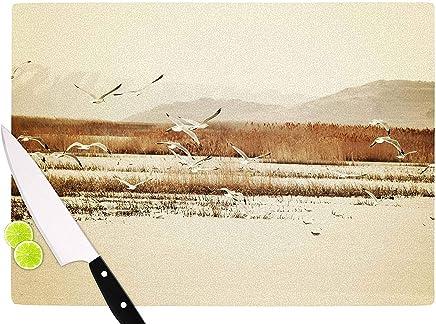 "KESS InHouse SC4018ACB01 Sylvia Coomes""Nautical Flight"" Tan Brown Cutting Board, 11.5 x 8.25"", Multicolor"