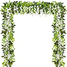 Sunm boutique Artificial Flowers Wisteria Garland Vine Rattan Hanging for Home Garden Ceremony Wedding Arch Floral Decor, ...