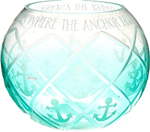 Pavilion - Aqua Ombre Diamond Cut Anchor Pattern Beach House 5 Inch Round Tealight Candle Holder - Home Is Where The Anchor Drops