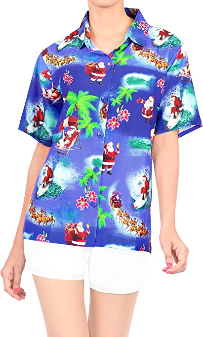 HAPPY BAY V Neck Shirts Women Palm Tree Classic Collar Button UP Hawaiian Shirt
